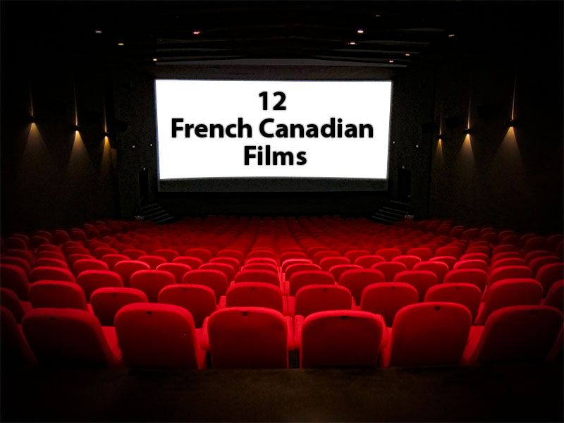 Cinema screen with a sign 12 French Canadian Films