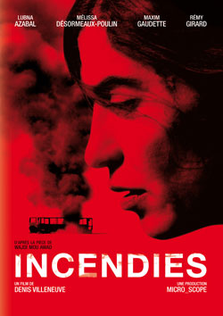 The poster shows the face of the main character of Incendies